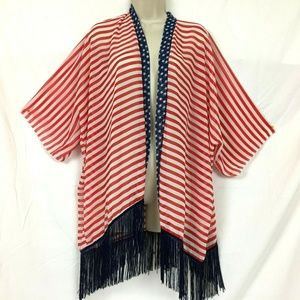 Sheer USA Flag Cover Up Shawl Poncho One Size OSFA